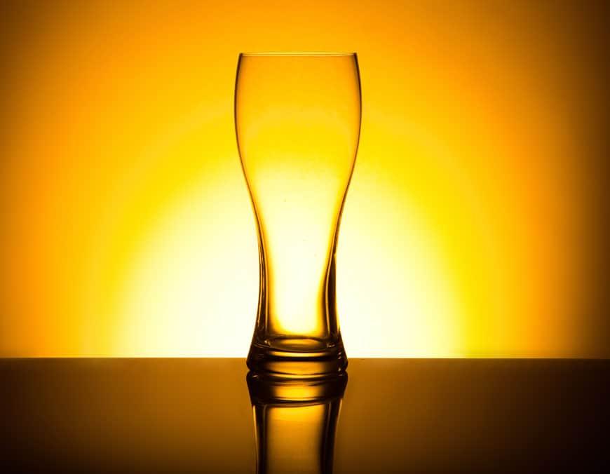 Bierglas perfekt beleuchtet