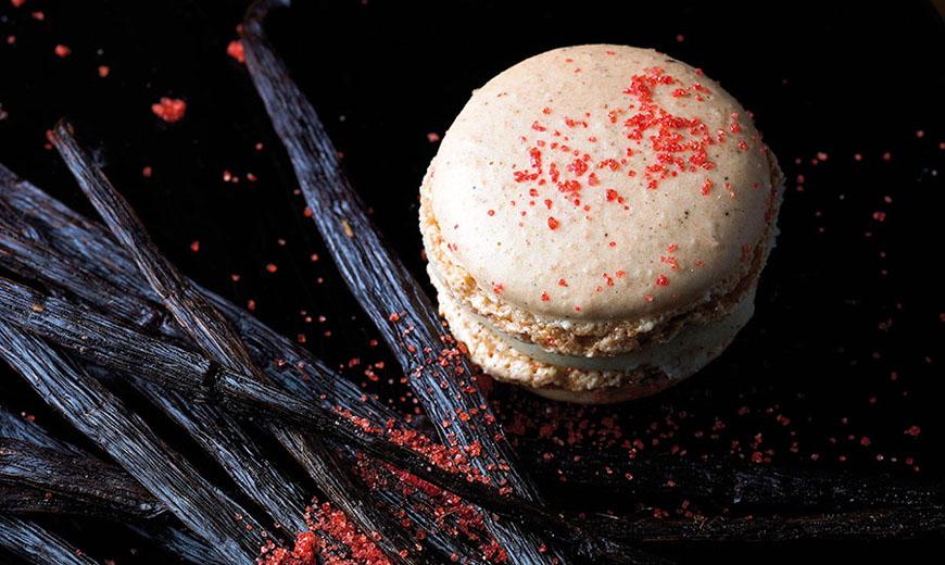 Vanille-Erdbeere-Macarons