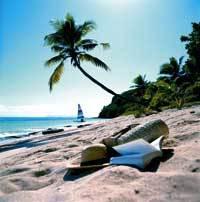 ein weißer Sandstrand, darauf liegen ein Buch und ein Strohhut, im Hintergrund ist eine Palme zu sehen