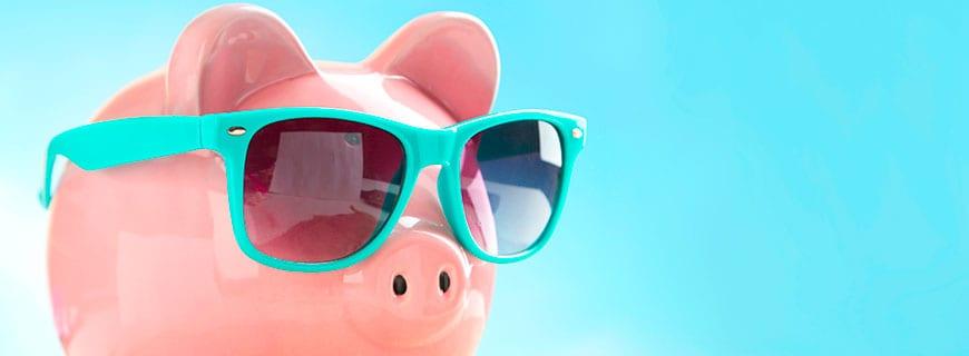 Ein Spaarschwein mit Sonnenbrille