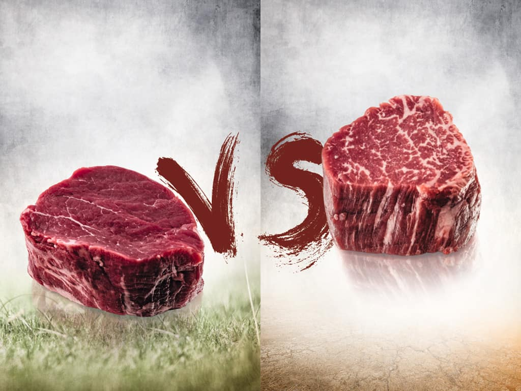 Im Kampf: das naturverbundene, sagenumwobene Fleisch vom Grasgefütterten Rind gegen den Titelverteidiger, das amerikanische und australische Wunderrind, das fettdurchzogene Fleisch vom getreidegefütterten Kontrahenten.