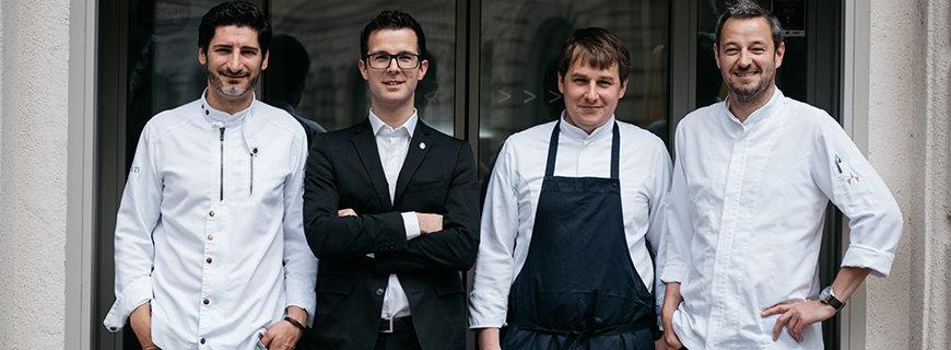 Paul Ivic (Chef de Cuisine), Matthias Pitra (Sommelier), Mathias Martin (Souschef) und Thomas Scheiblhofer (Chef de Pâtisserie)