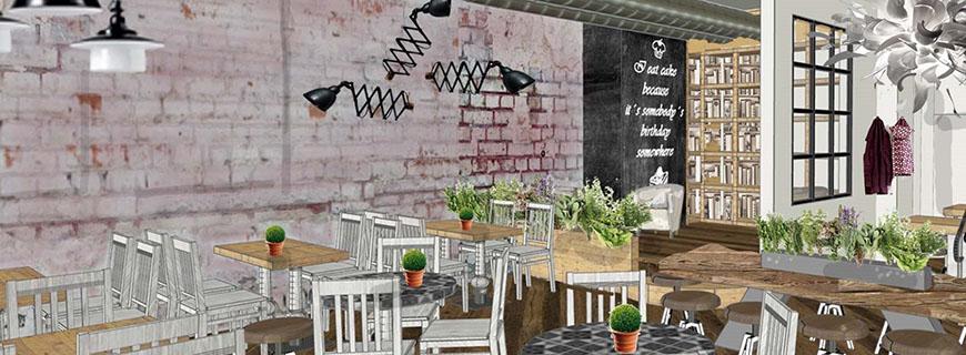 Visual des Gastraums: So soll es im Café aussehen.
