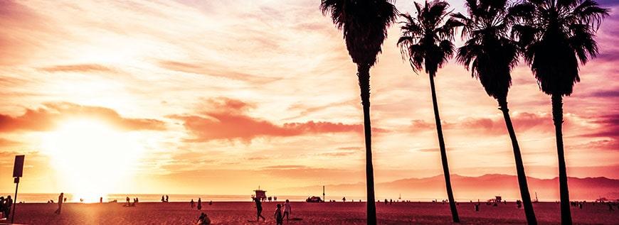 Kalifornien, Sonnenuntergang am Strand mit Palmen