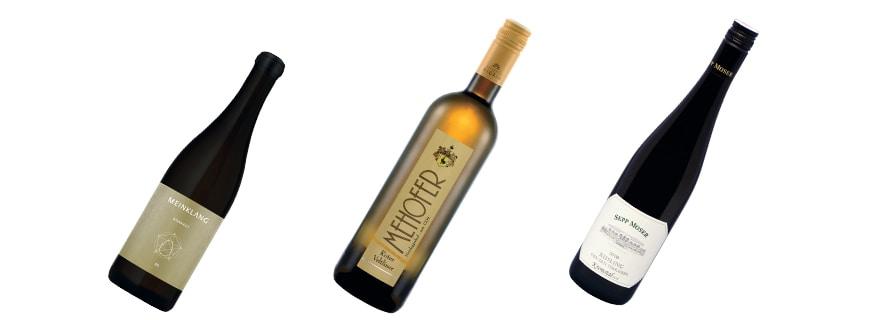 drei Flaschen Bio-Wein