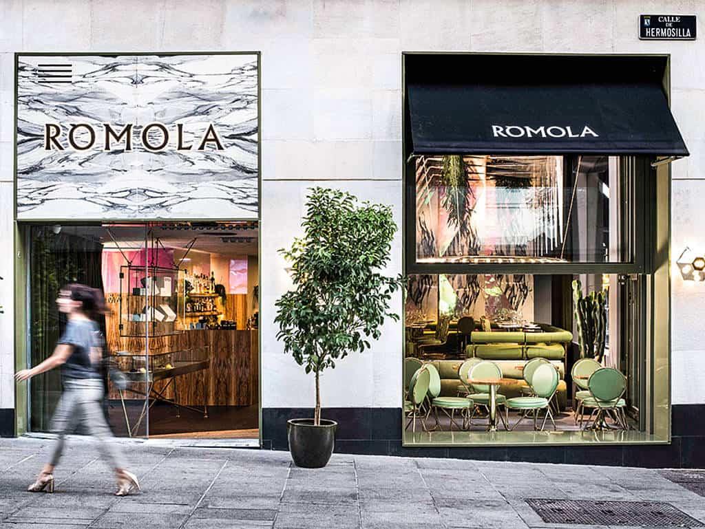Das Rómola in Madrid spart nicht mit Marmor.