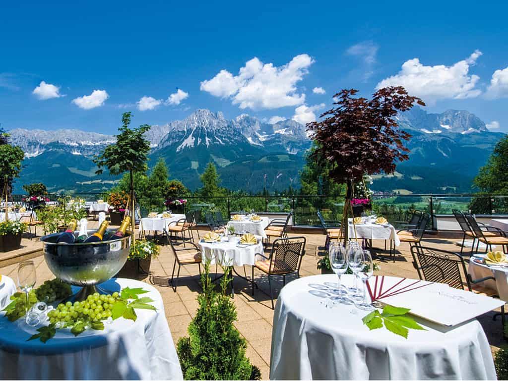 Perfektes Panorama auf der Terrasse