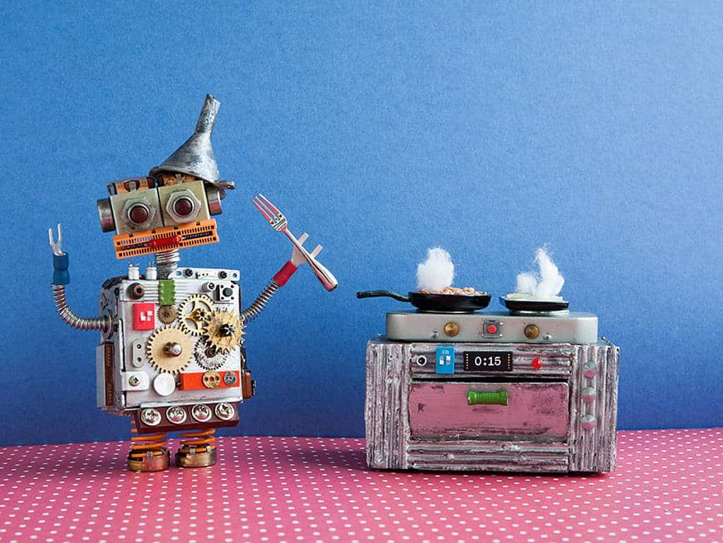 Beispielbild von kochendem Roboter am Herd