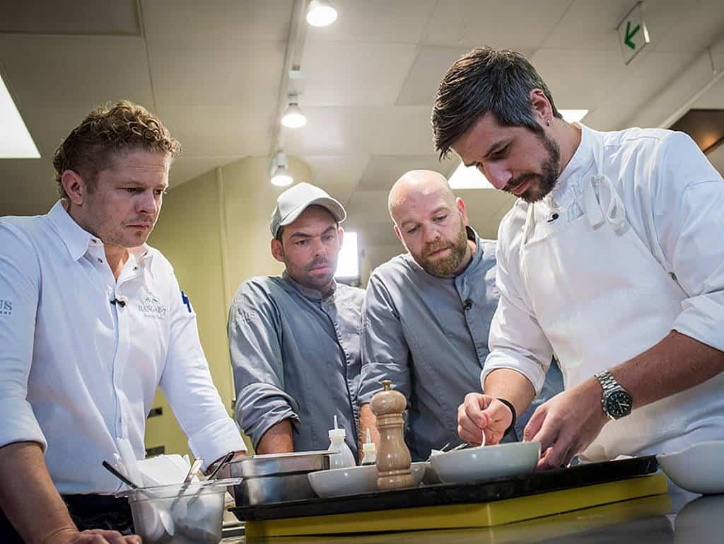 Martin Klein, Tommy Eder-Dananic, Jörg Bruch und Gastkoch Sven Wassmer