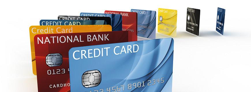 eine Sammlung von Kreditkarten