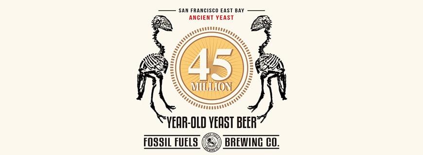 Logo der Craft Bier Firma mit zwei T-Rex-Dinosaurier mit der Zahl 45 Millionen Jahre in ihrer Mitte.