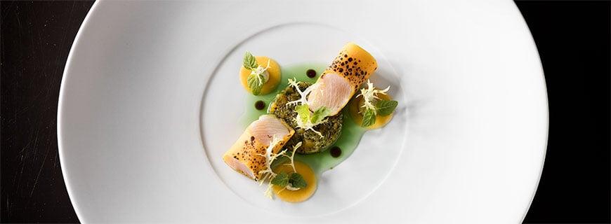 """Hamachi – Kürbis, Nori-Alge und Shiso"", Michael Kempf, Restaurant Facil"