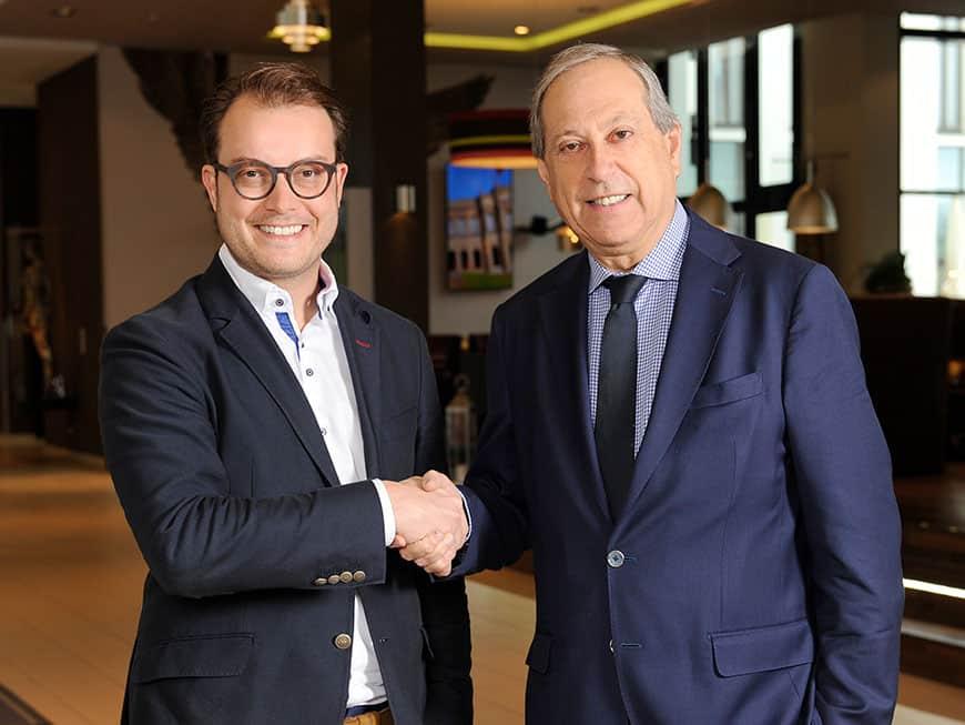 Johannes Bühler, Geschäftsführer HANS IM GLÜCK & Daniel Roger, Managing Director Leonardo Hotels Europe