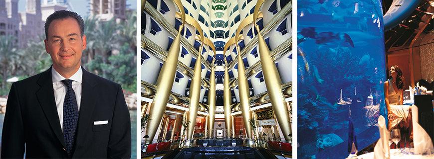 Fototcollage des Burj Al Arab und dessen Manager Heinrich Morio