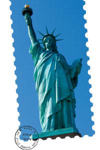 die Freiheitsstatue auf einer Briefmarke