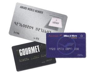 Mitgliedskarten,Vorteilskarten, verschieden Arten von Plastikkarten sind zu sehen