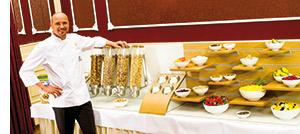 neue, gesunde Frühstücks-Idee, reichhaltiges Nestle-well-being-Buffet