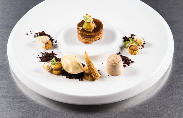 Nespresso-Tarte & Marshmallow/Mais-Sorbet/Mini Mais, Popcorn in Textur/Kakao-Erde