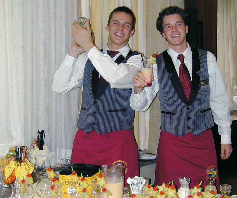 Zwei Barkeeper in Berufskleidung am shaken und lachen