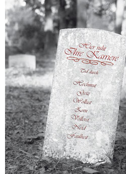 ein Grabstein mit den 7 Karriere Todsünden
