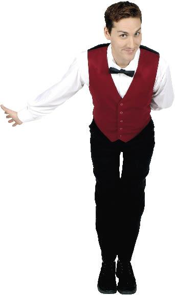 ein junger Herr in Kellneruniform verbeugt sich