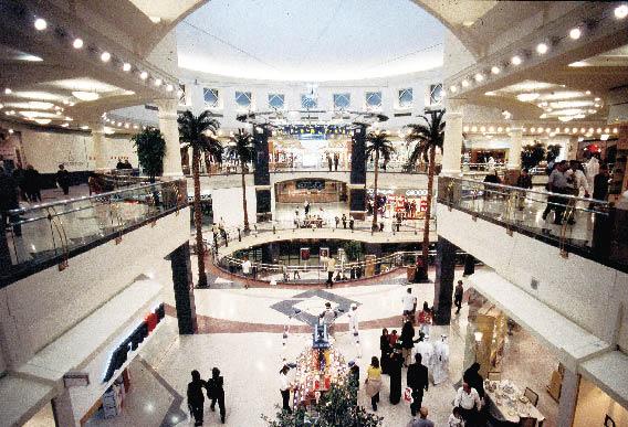 eine großflächige Shoppingmall in Dubai mit Indoorpalmen