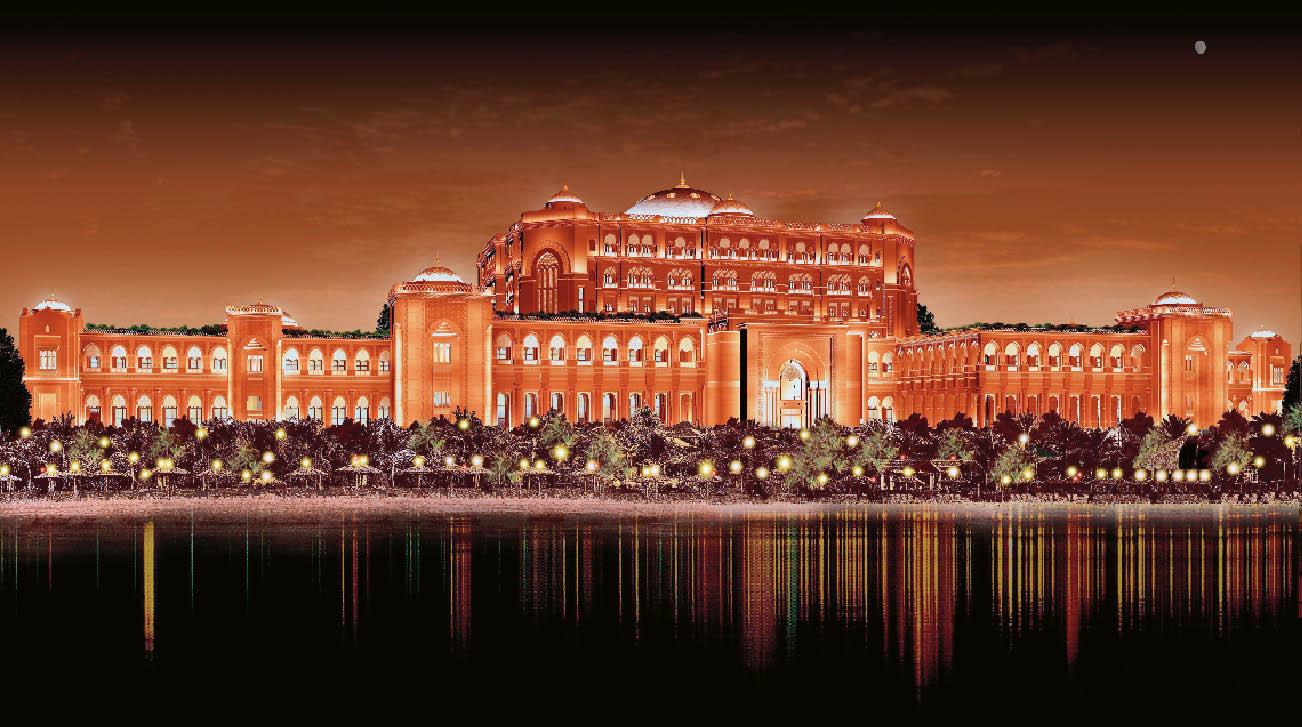 Kempinski Hotels & Resorts von außen in der Panorama Ansicht in einem Lichtmeer