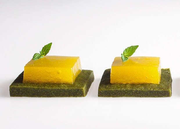 Hydrokolloide - Grüntee-Keks mit Mandarinen-Gel, Restaurant Tickets, Barcelona
