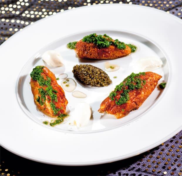 Soufflierter Kartoffelschmarrn mit Imperial-Kaviar