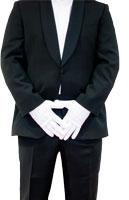 ein Kellneroutfit, die Person ist nicht erkennbar, weisse handschuhe werden getragen und die haende ueberkreuzt
