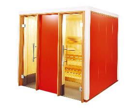 Eine Sauna Kabine in Rot