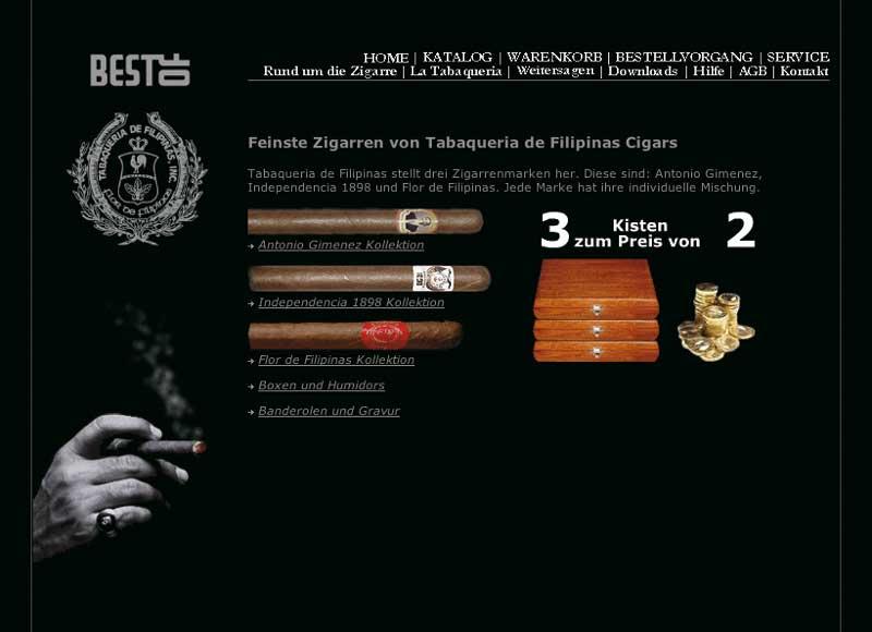 screenshot der website best of cigar