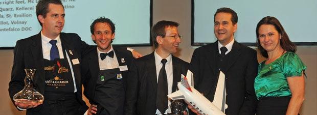 Die Finalisten Andreas Jechsmayr, Jürgen Witschko, Vuljaj Ljubo, Gerhard Retter mit der Präsidentin des Österreichischen Sommelierverbandes Annemarie Foidl