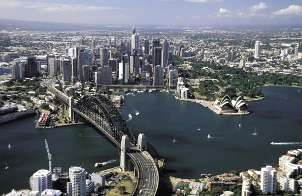 Harbour Brücke und Opernhaus in Sydney aus der Vogelperspektive