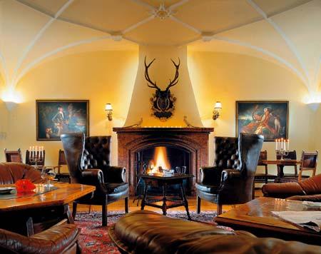 ein gemütlicher Raum mit einem Kamin und braunen ledermöbeln ausgekleidet