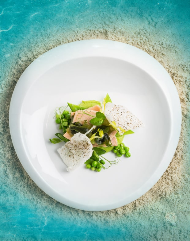 Spitzteich-Forelle mit Wasabi-Erbsen und Reis-Chips