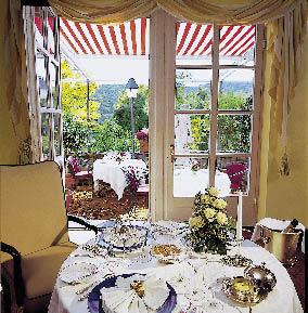 ein Blick aus dem Restaurant Stromburg auf den Gastgarten