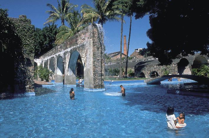 Eine Poollandschaft umgeben von Palmen und Stein