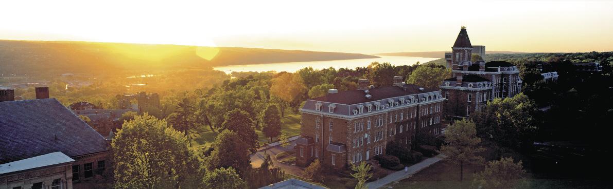 Cornell School bei Sonnenlicht in der totalen