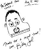 eine kleine Zeichnung und ein Dankschreiben von Billy Joel an ein Hotel