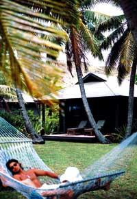 ein Herr liegt in Badehose und Sonnenbrille in einer Hängematte unter Palmen