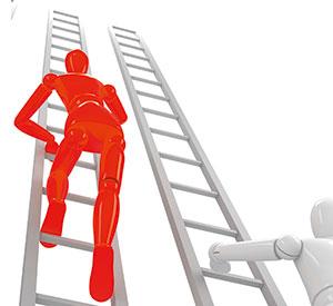 ein animiertes Männchen klettert die Karriereleiter hoch