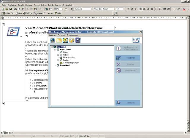 screenshot einer anleitung zur homepage aktualisierung