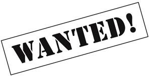Wanted in Großbuchstaben und fett gedruckt