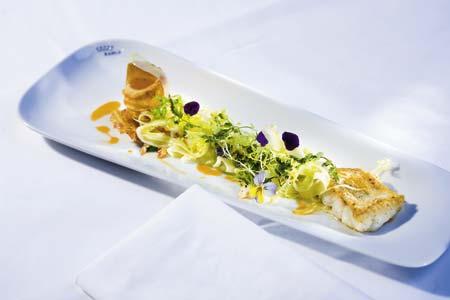 gebratener zander mit anis auf weißer zwiebel-frischkäse-vanille-creme mit mariniertem fenchel und chorizoschaumrolle