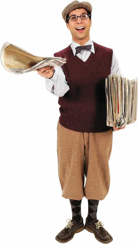 ein zeitungsjunge mit einem zeitungsstapel und einer flatcap und karosocken