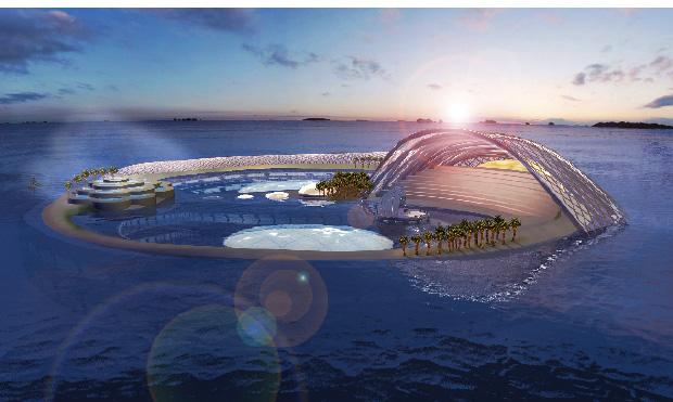 arabische Bauwerkplanungen stellen ein Inselkonstrukt im Meer dar