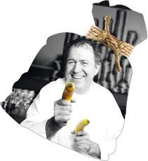 Fritz Schilling mit Bananen bewaffnet