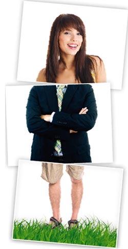 der Kopf einer Frau, Mittelteil ein Herr im Anzug, und die Beine in Freizeithosen
