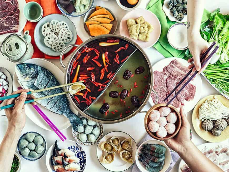 Hot Pots im Restaurant Shuang Shuang
